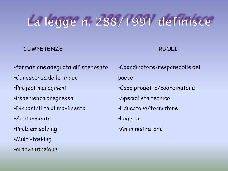 La legge n. 288/1991 definisce COMPETENZE RUOLI