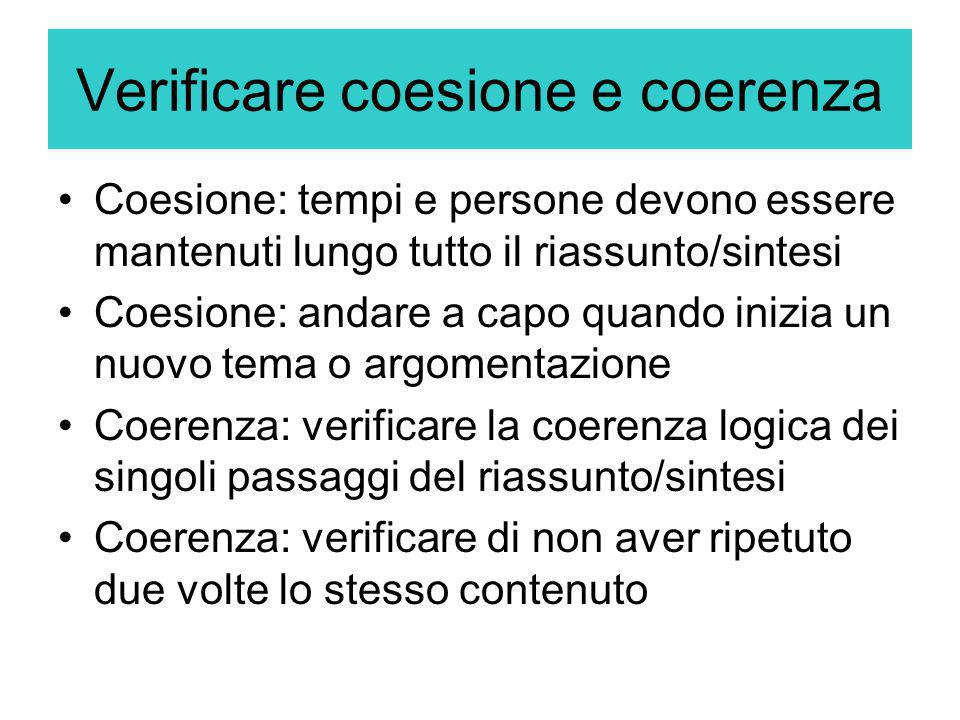 Verificare coesione e coerenza