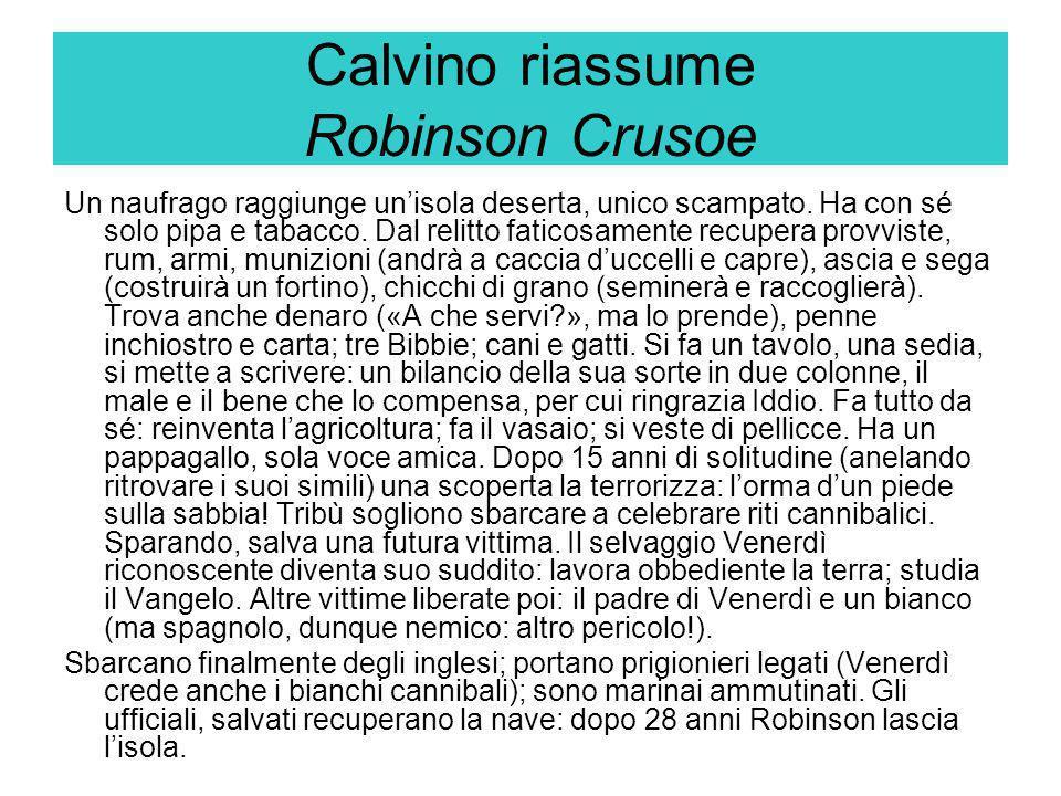 Calvino riassume Robinson Crusoe
