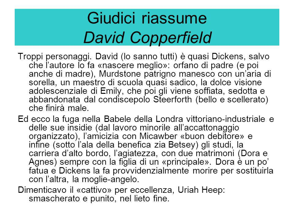 Giudici riassume David Copperfield