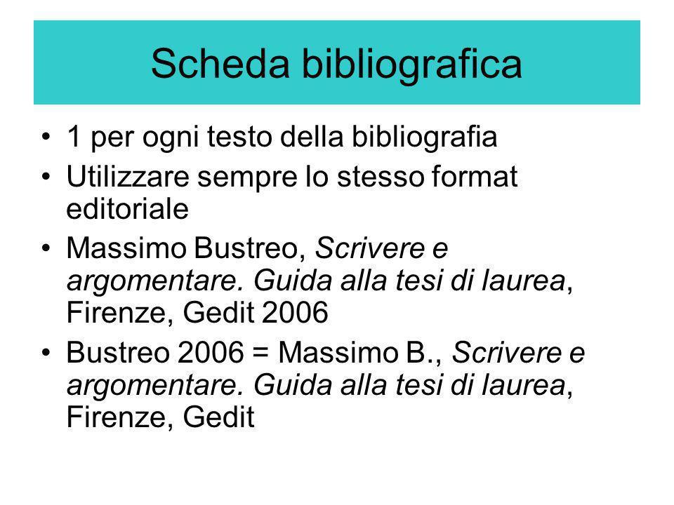 Scheda bibliografica 1 per ogni testo della bibliografia