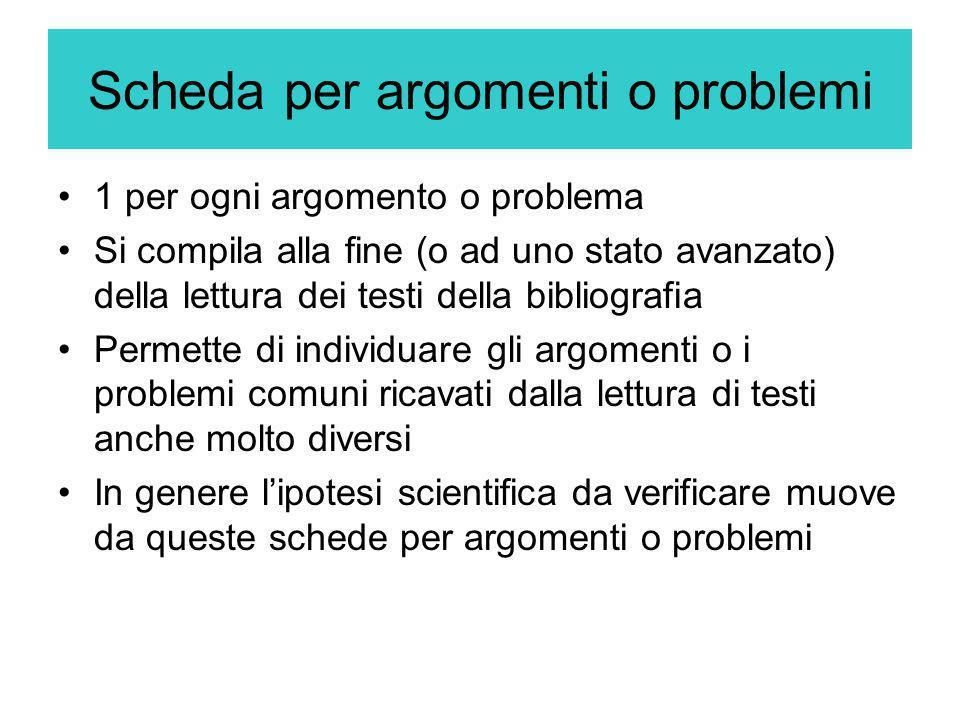 Scheda per argomenti o problemi