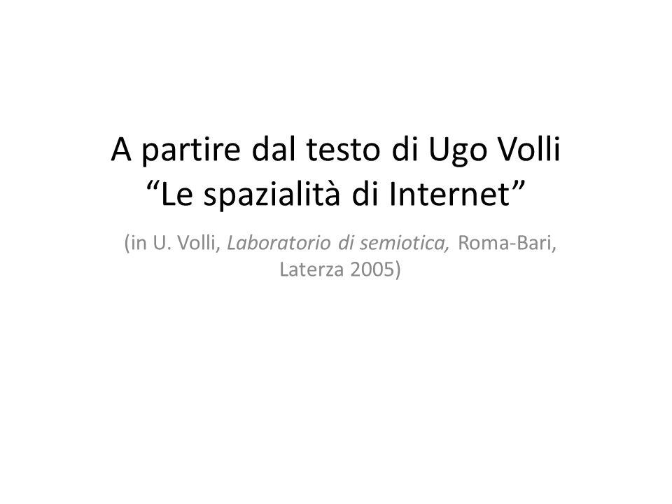 A partire dal testo di Ugo Volli Le spazialità di Internet