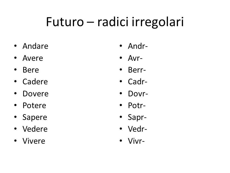 Futuro – radici irregolari