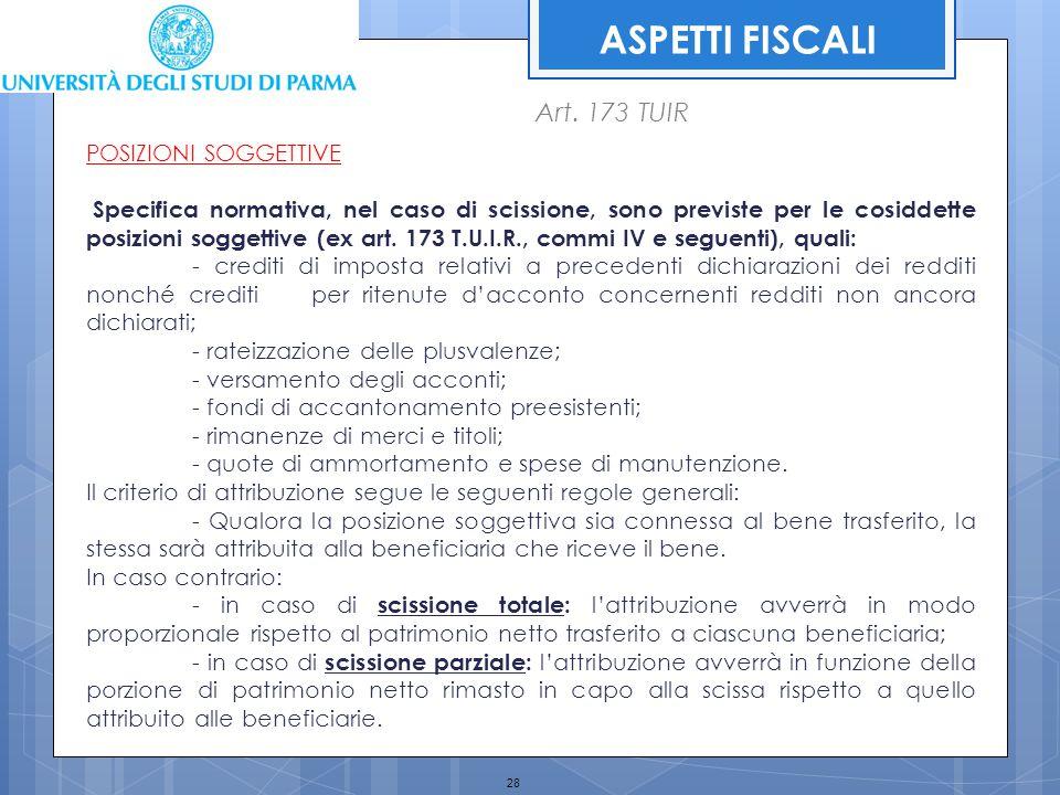 ASPETTI FISCALI Art. 173 TUIR POSIZIONI SOGGETTIVE