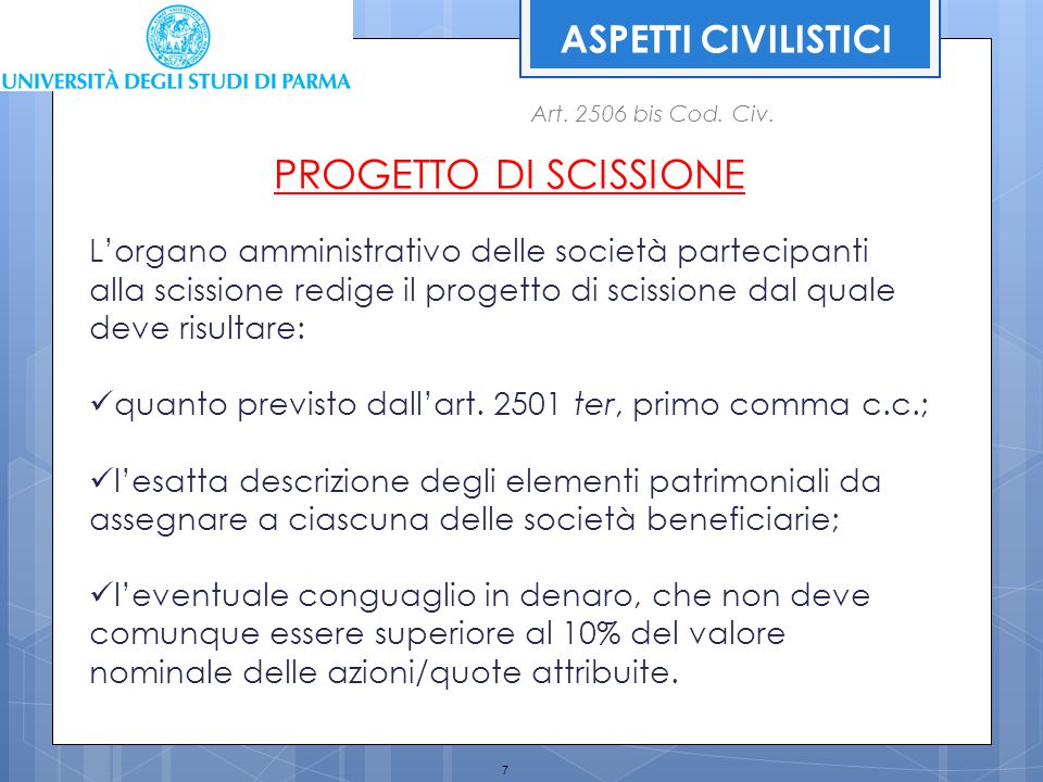 PROGETTO DI SCISSIONE ASPETTI CIVILISTICI