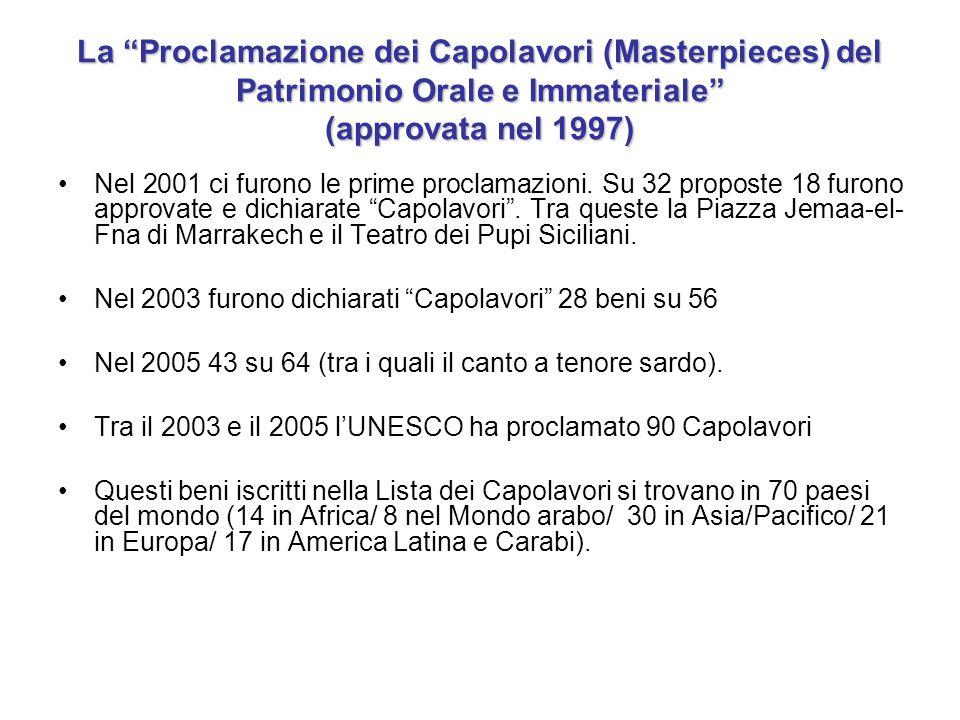 La Proclamazione dei Capolavori (Masterpieces) del Patrimonio Orale e Immateriale (approvata nel 1997)