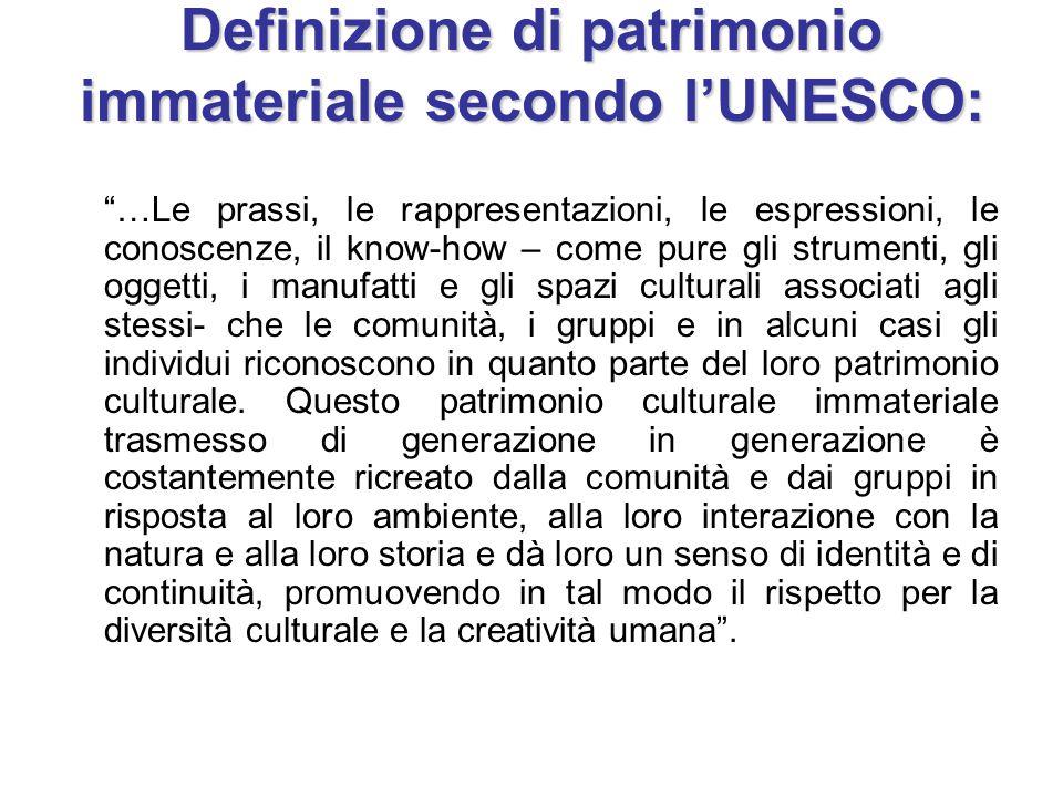 Definizione di patrimonio immateriale secondo l'UNESCO: