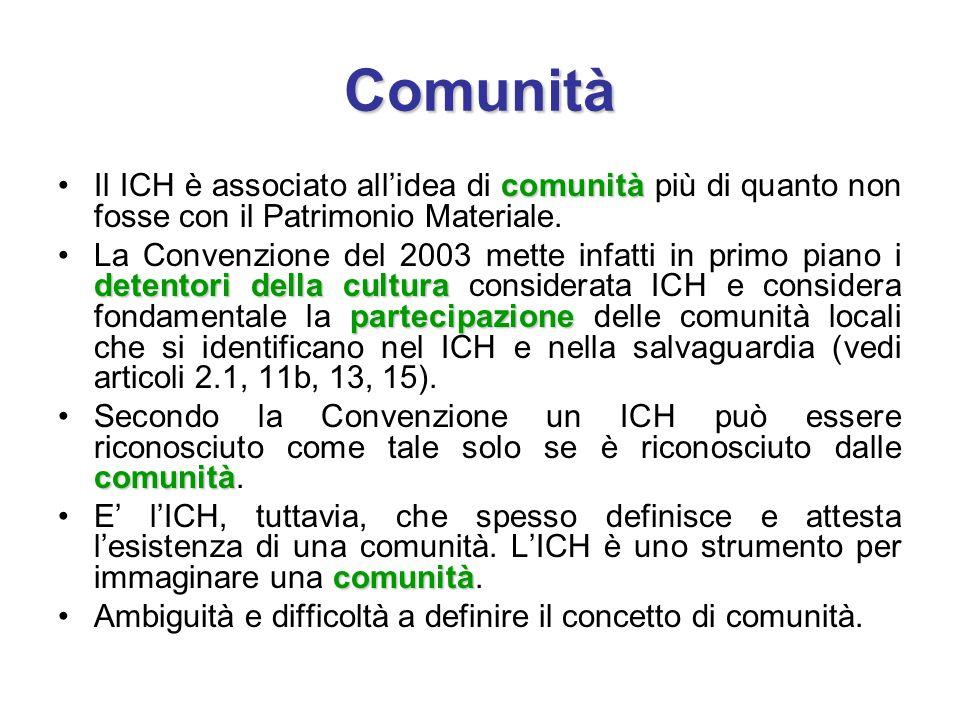 Comunità Il ICH è associato all'idea di comunità più di quanto non fosse con il Patrimonio Materiale.