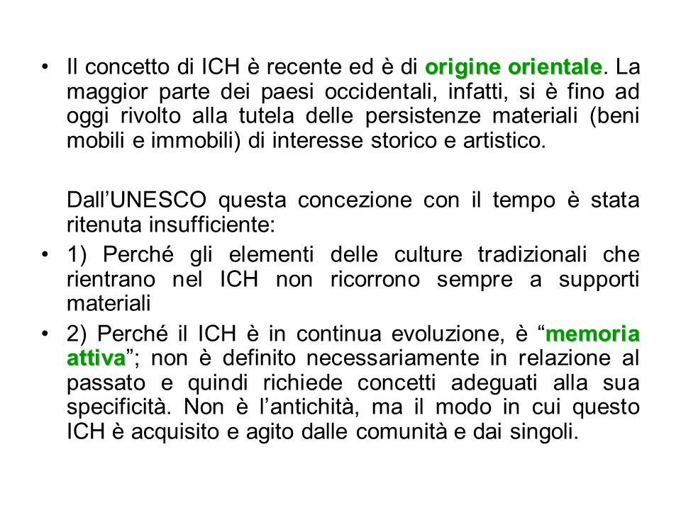 Il concetto di ICH è recente ed è di origine orientale