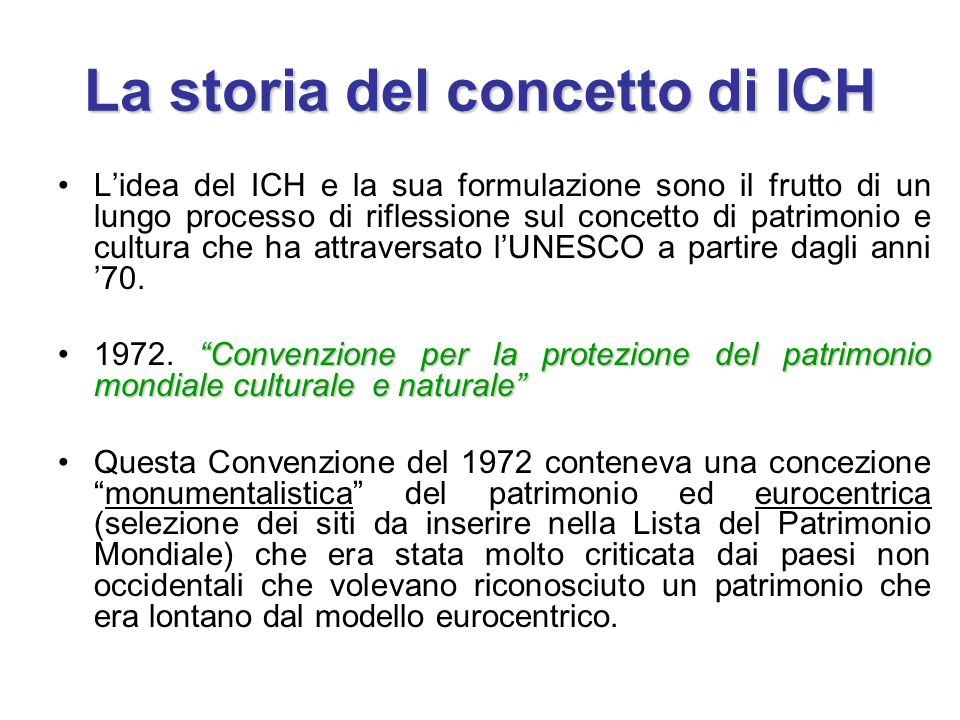 La storia del concetto di ICH