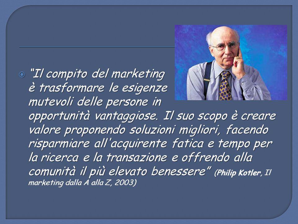 Il compito del marketing è trasformare le esigenze mutevoli delle persone in opportunità vantaggiose.