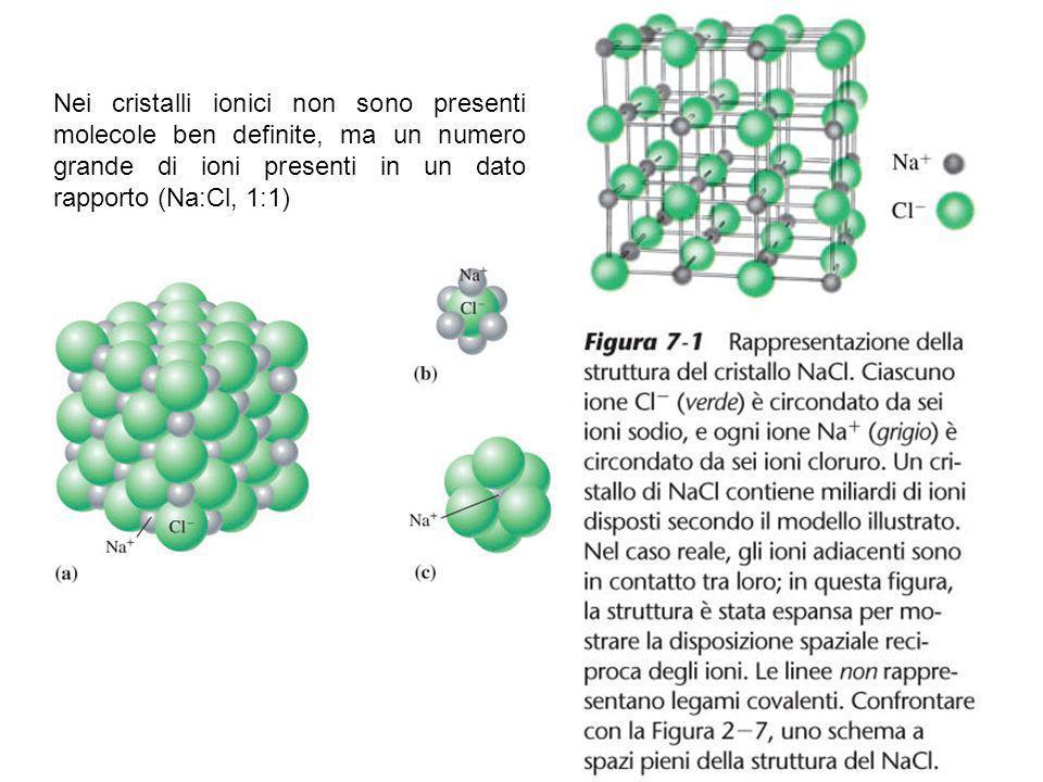 Nei cristalli ionici non sono presenti molecole ben definite, ma un numero grande di ioni presenti in un dato rapporto (Na:Cl, 1:1)