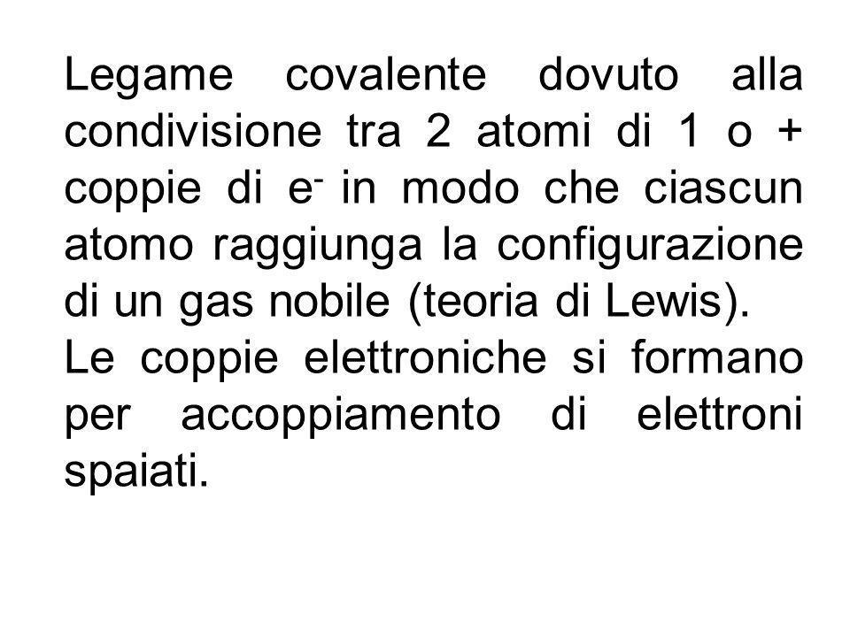 Legame covalente dovuto alla condivisione tra 2 atomi di 1 o + coppie di e- in modo che ciascun atomo raggiunga la configurazione di un gas nobile (teoria di Lewis).