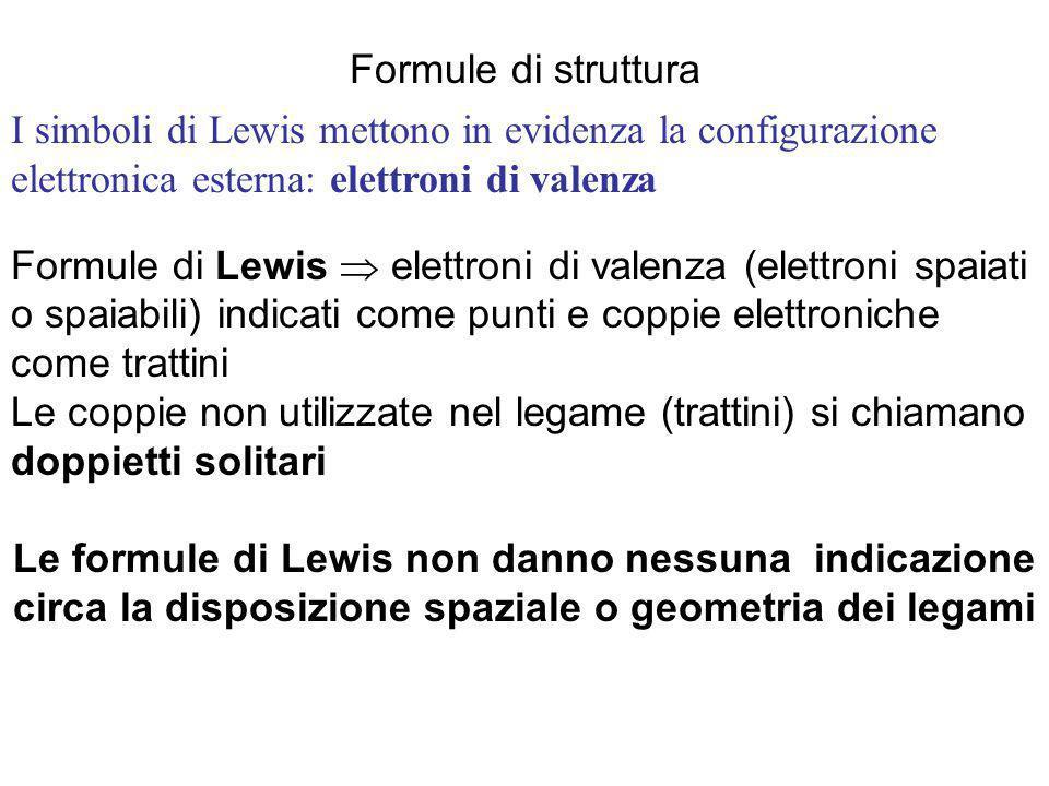 Formule di struttura Formule di Lewis  elettroni di valenza (elettroni spaiati o spaiabili) indicati come punti e coppie elettroniche come trattini.