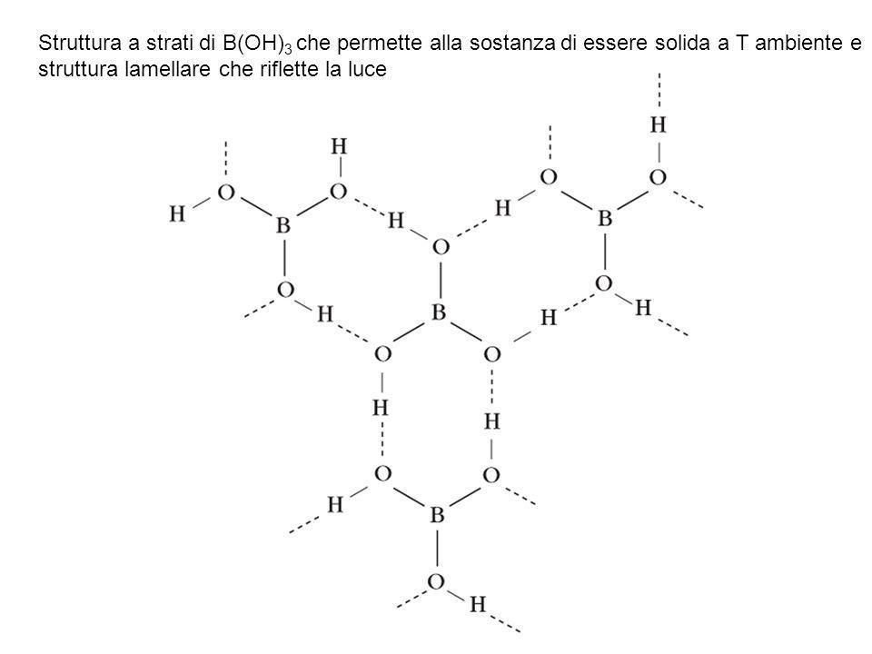 Struttura a strati di B(OH)3 che permette alla sostanza di essere solida a T ambiente e