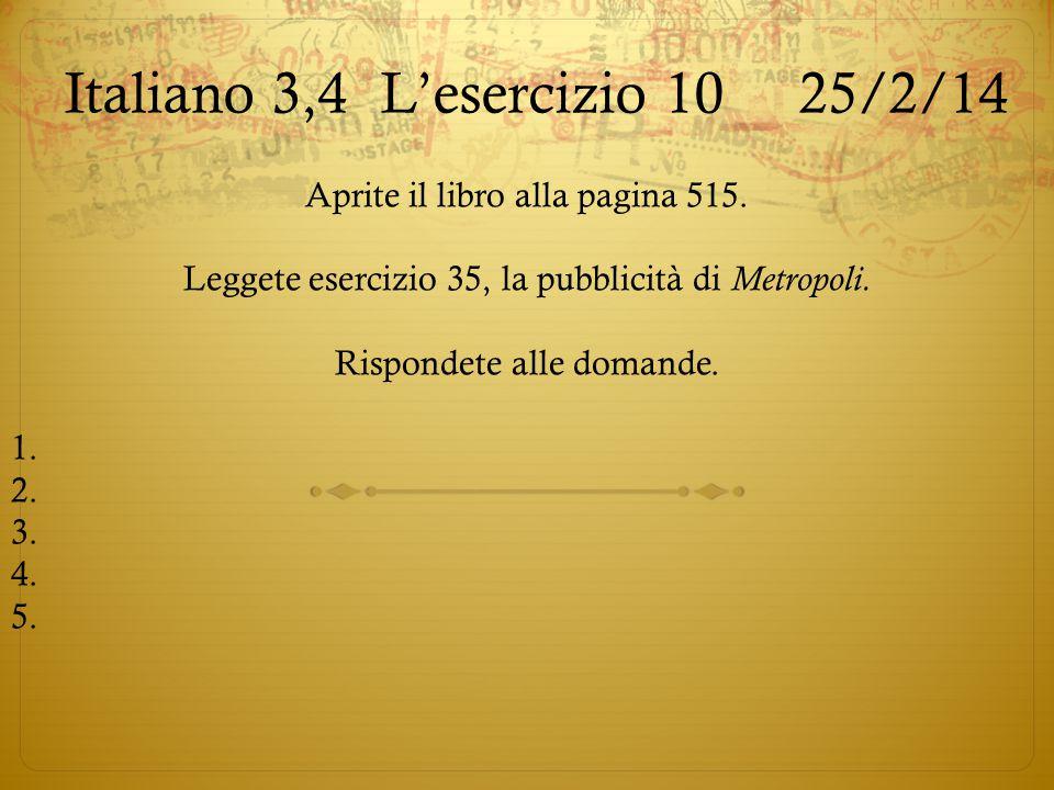 Italiano 3,4 L'esercizio 10 25/2/14
