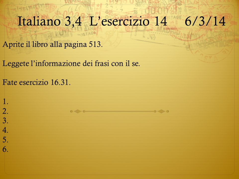 Italiano 3,4 L'esercizio 14 6/3/14