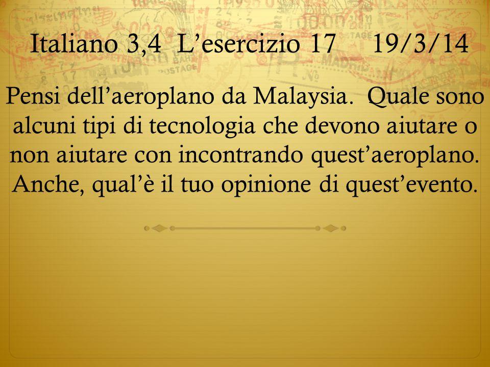 Italiano 3,4 L'esercizio 17 19/3/14