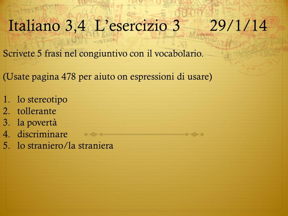 Italiano 3,4 L'esercizio 3 29/1/14