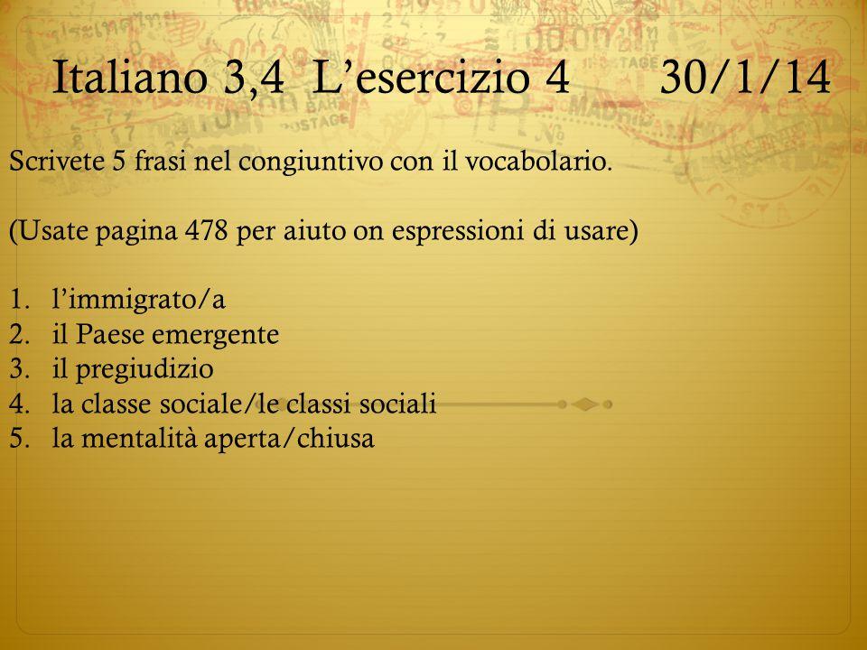 Italiano 3,4 L'esercizio 4 30/1/14