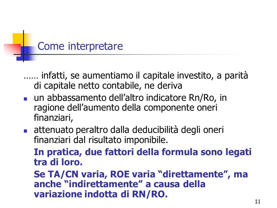 Come interpretare …… infatti, se aumentiamo il capitale investito, a parità di capitale netto contabile, ne deriva.