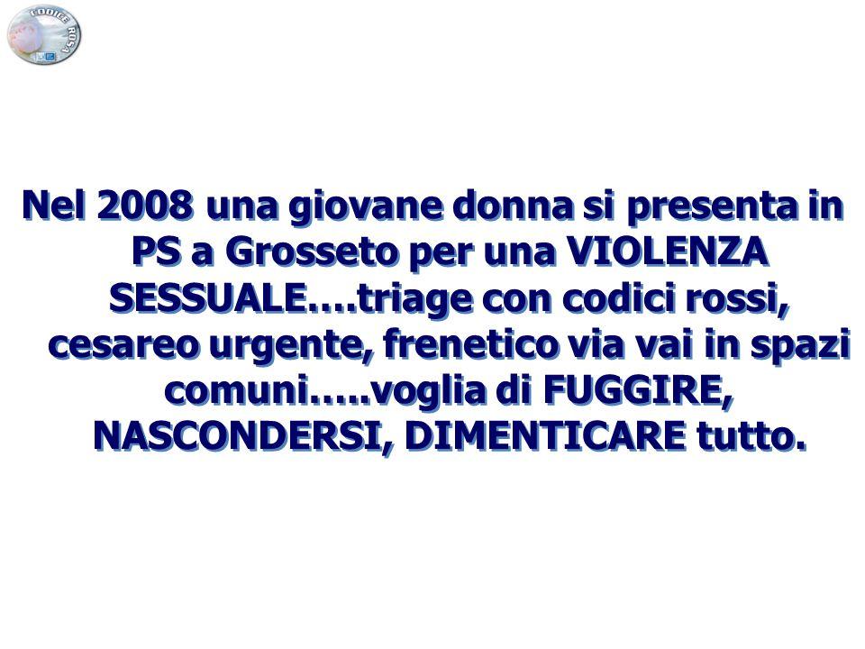 Nel 2008 una giovane donna si presenta in PS a Grosseto per una VIOLENZA SESSUALE….triage con codici rossi, cesareo urgente, frenetico via vai in spazi comuni…..voglia di FUGGIRE, NASCONDERSI, DIMENTICARE tutto.