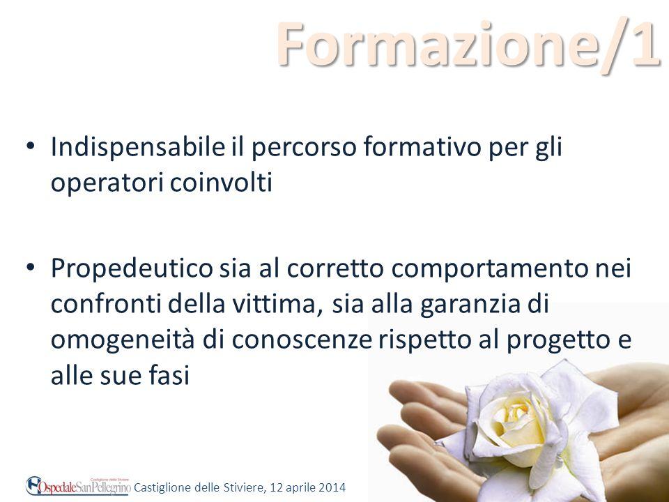 Formazione/1 Indispensabile il percorso formativo per gli operatori coinvolti.