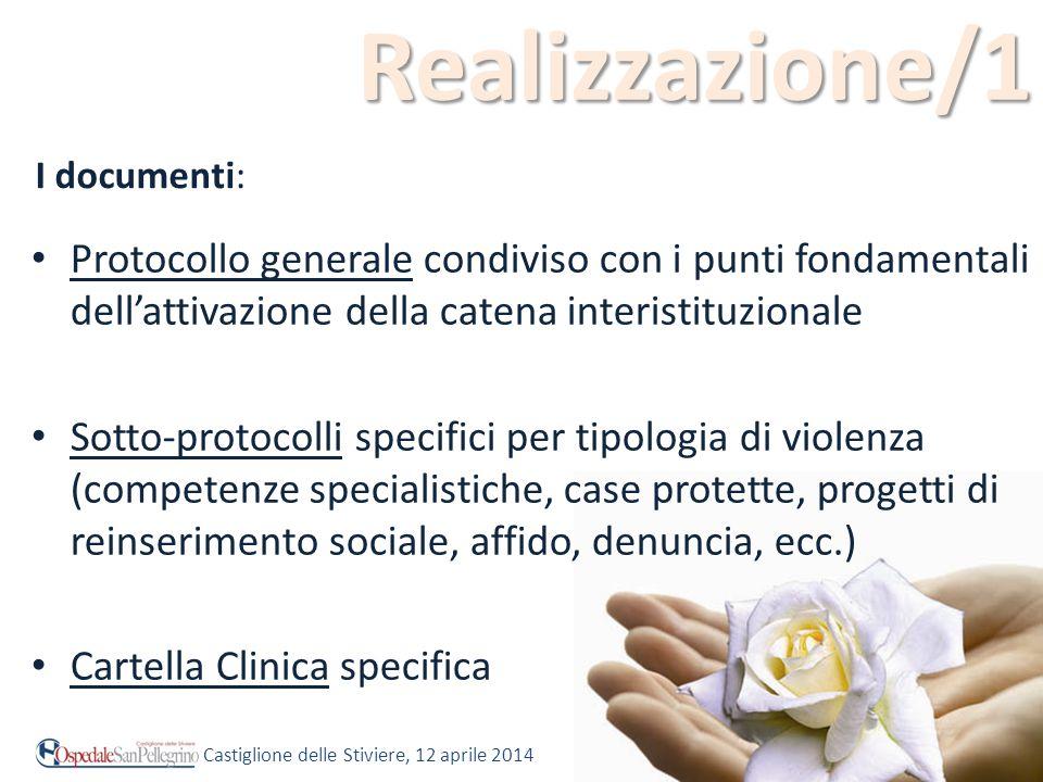 Realizzazione/1 I documenti: Protocollo generale condiviso con i punti fondamentali dell'attivazione della catena interistituzionale.