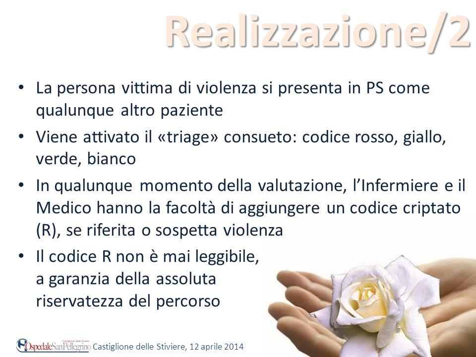 Realizzazione/2 La persona vittima di violenza si presenta in PS come qualunque altro paziente.