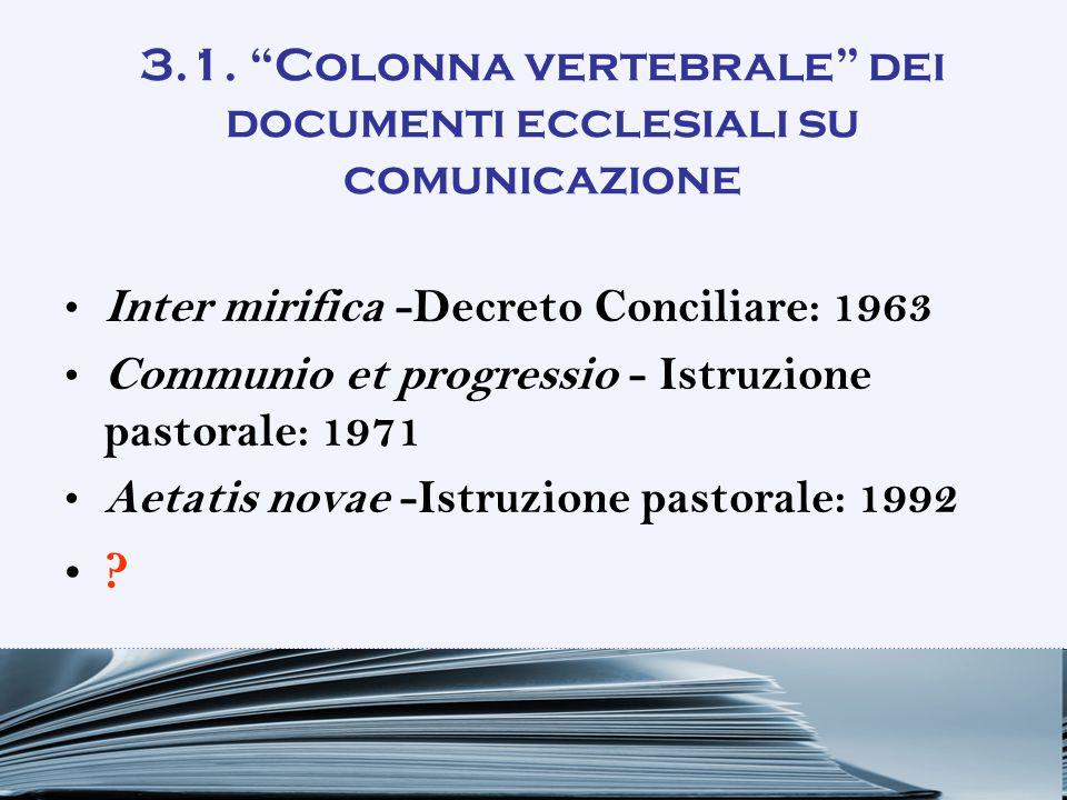 3.1. Colonna vertebrale dei documenti ecclesiali su comunicazione
