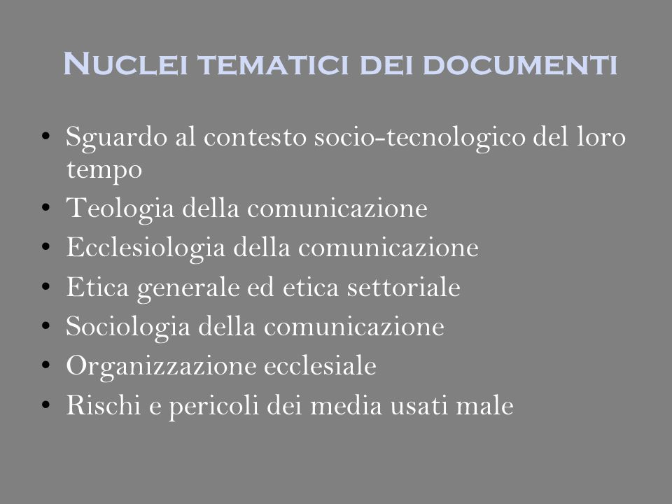 Nuclei tematici dei documenti