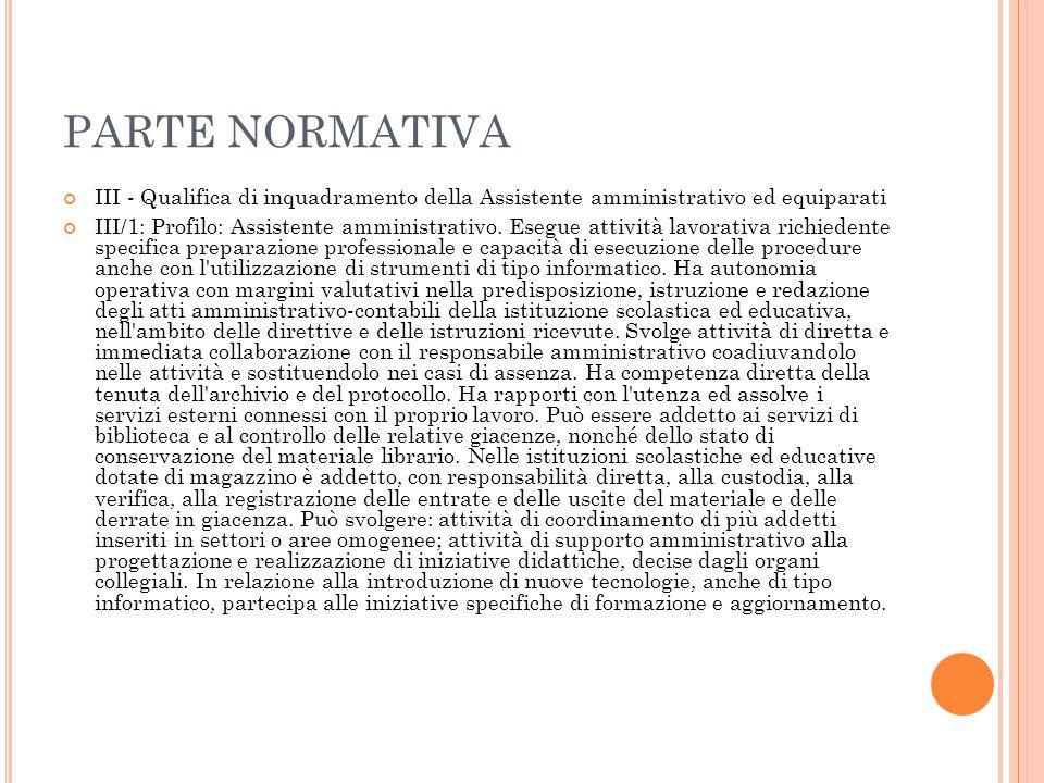 PARTE NORMATIVA III - Qualifica di inquadramento della Assistente amministrativo ed equiparati.