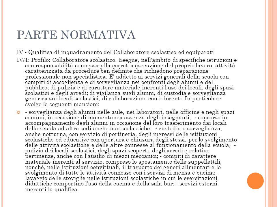 PARTE NORMATIVA IV - Qualifica di inquadramento del Collaboratore scolastico ed equiparati.