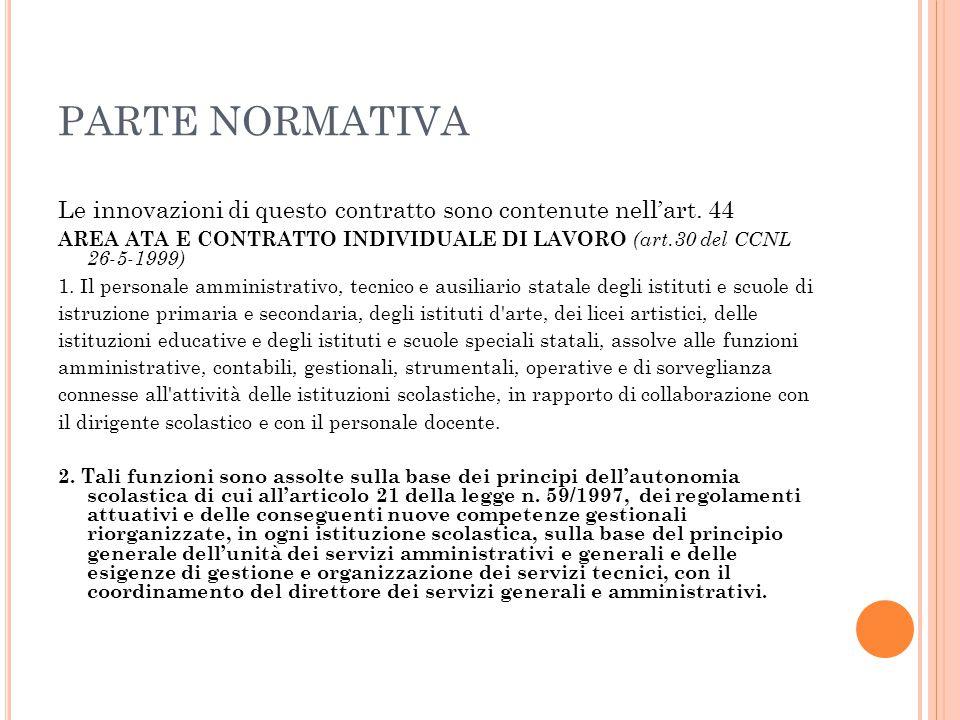 PARTE NORMATIVA Le innovazioni di questo contratto sono contenute nell'art. 44.