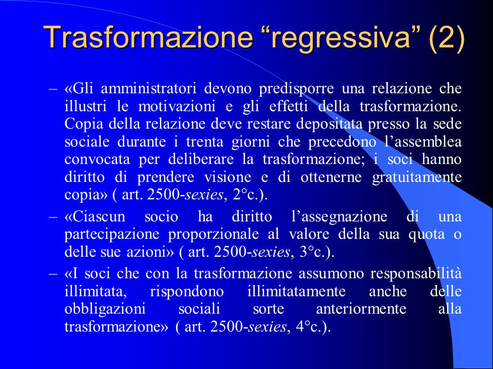 Trasformazione regressiva (2)