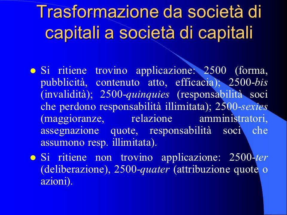 Trasformazione da società di capitali a società di capitali