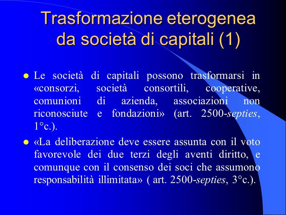 Trasformazione eterogenea da società di capitali (1)