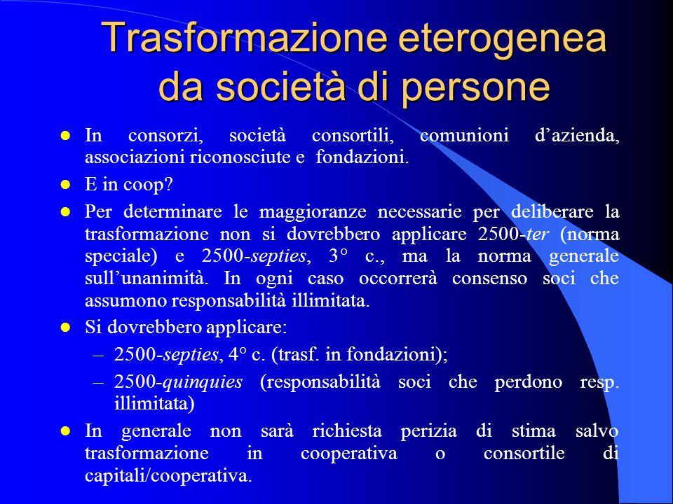 Trasformazione eterogenea da società di persone
