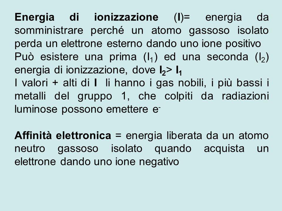Energia di ionizzazione (I)= energia da somministrare perché un atomo gassoso isolato perda un elettrone esterno dando uno ione positivo
