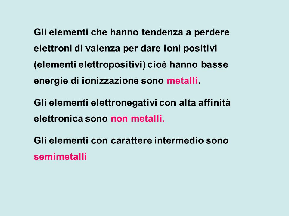 Gli elementi che hanno tendenza a perdere elettroni di valenza per dare ioni positivi (elementi elettropositivi) cioè hanno basse energie di ionizzazione sono metalli.