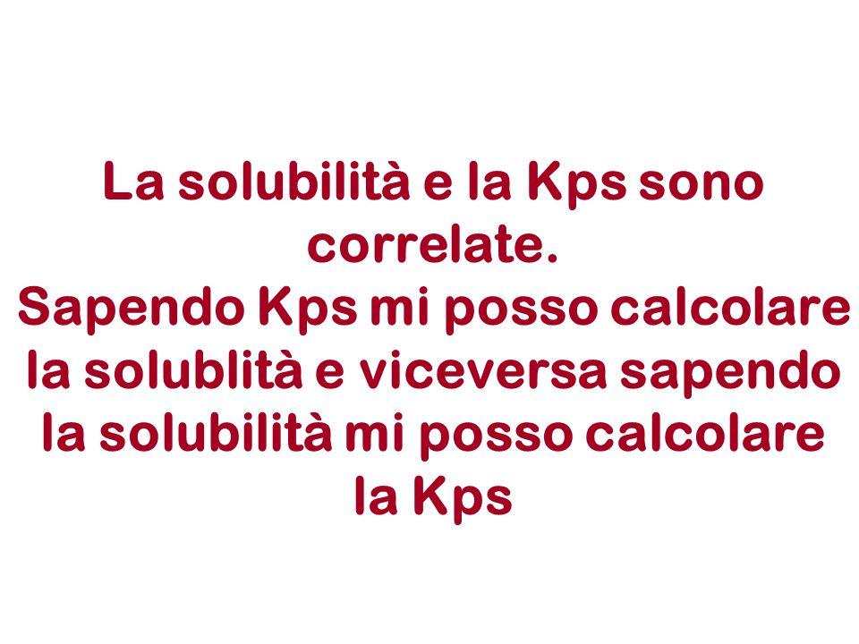 La solubilità e la Kps sono correlate.