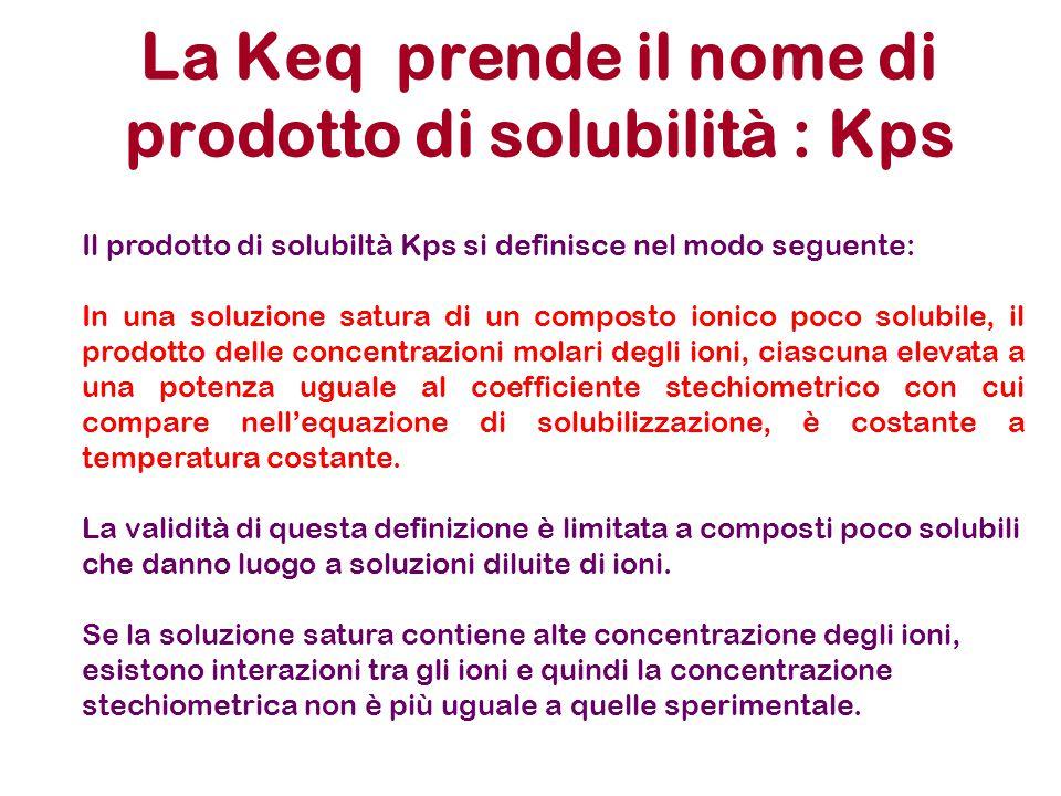 La Keq prende il nome di prodotto di solubilità : Kps