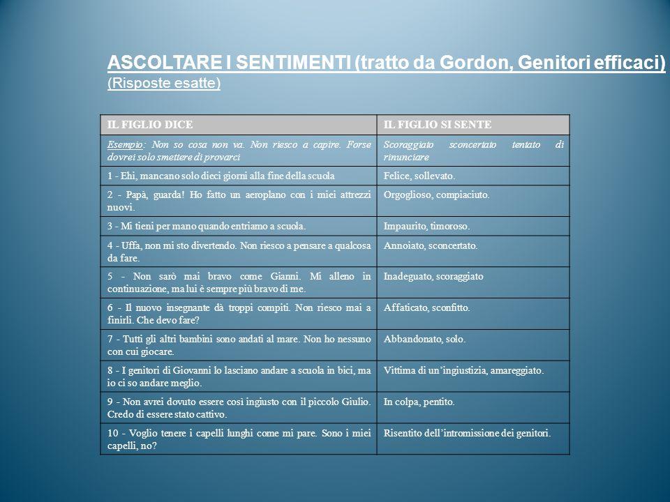 ASCOLTARE I SENTIMENTI (tratto da Gordon, Genitori efficaci)