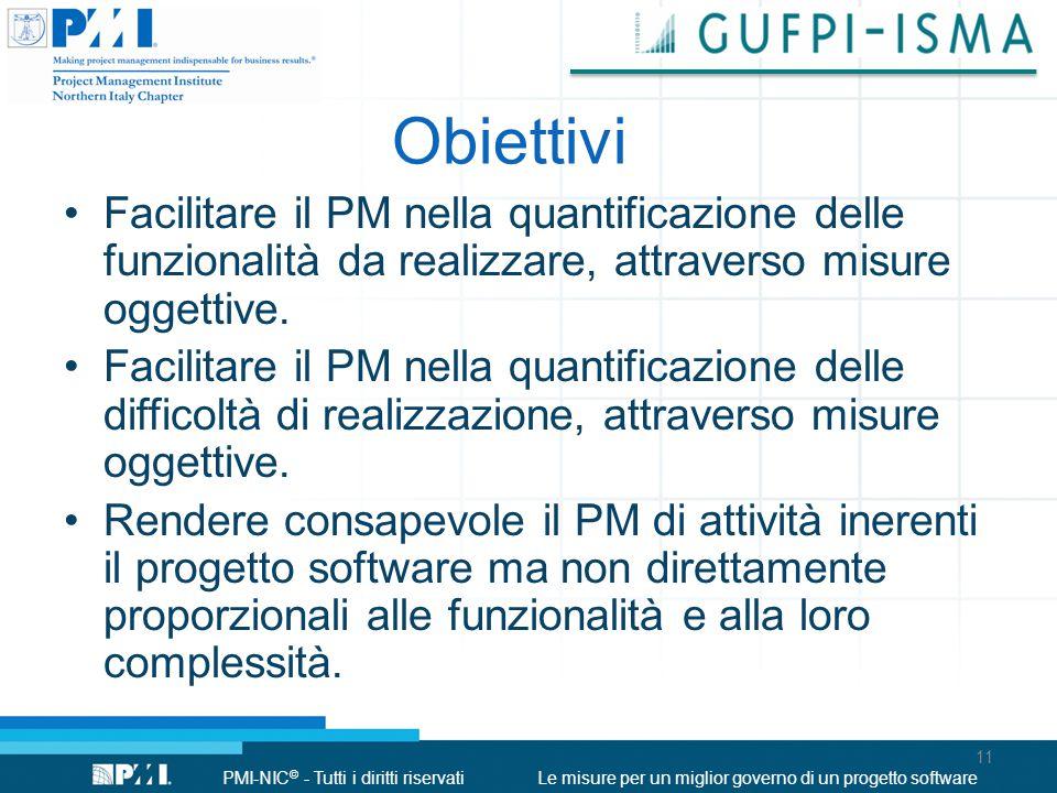 Obiettivi Facilitare il PM nella quantificazione delle funzionalità da realizzare, attraverso misure oggettive.