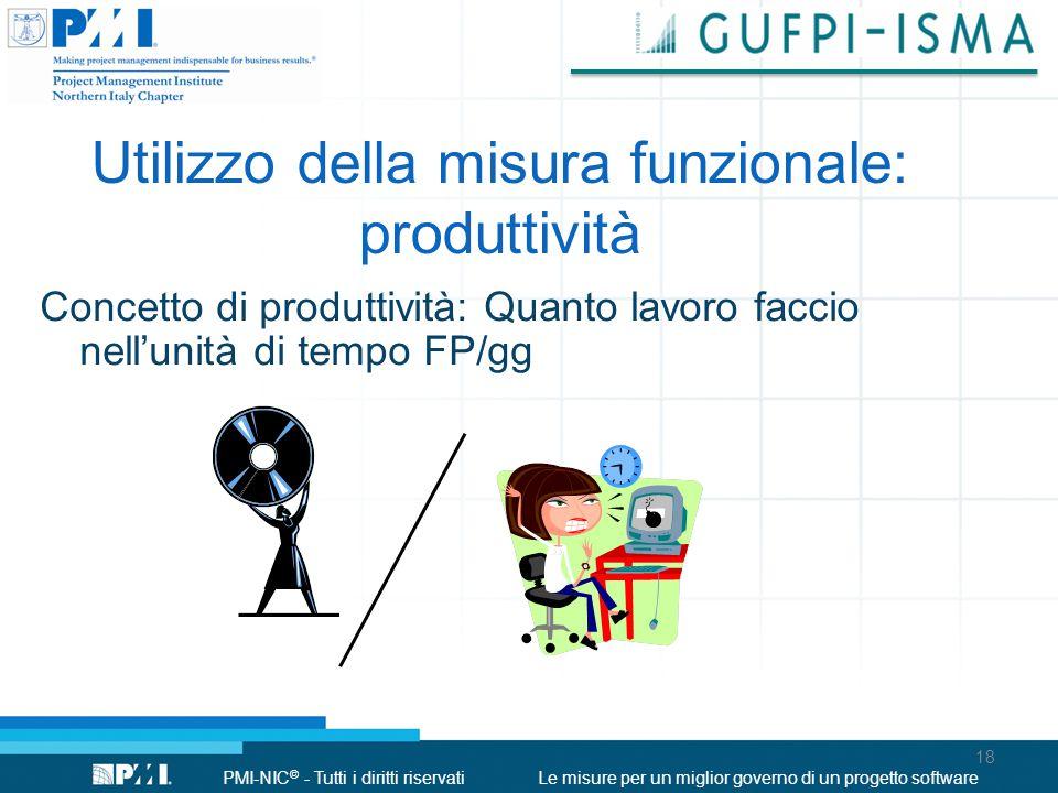 Utilizzo della misura funzionale: produttività