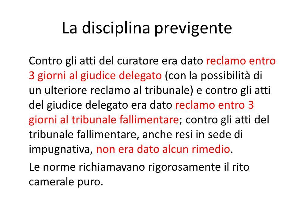 La disciplina previgente