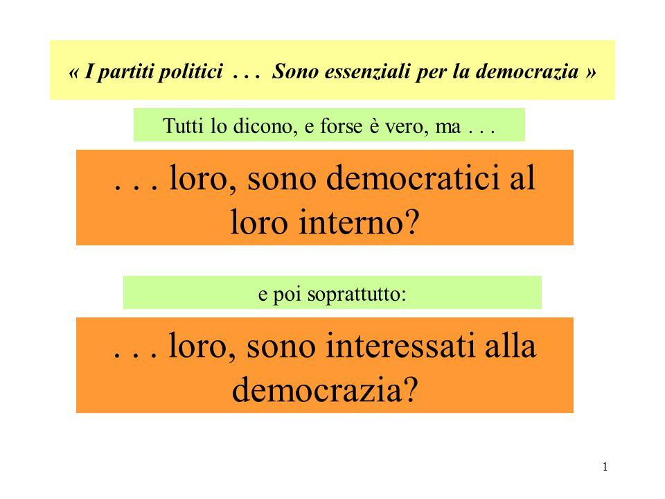 « I partiti politici . . . Sono essenziali per la democrazia »