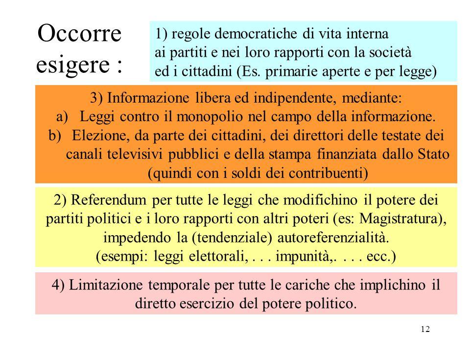 Occorre esigere : 1) regole democratiche di vita interna