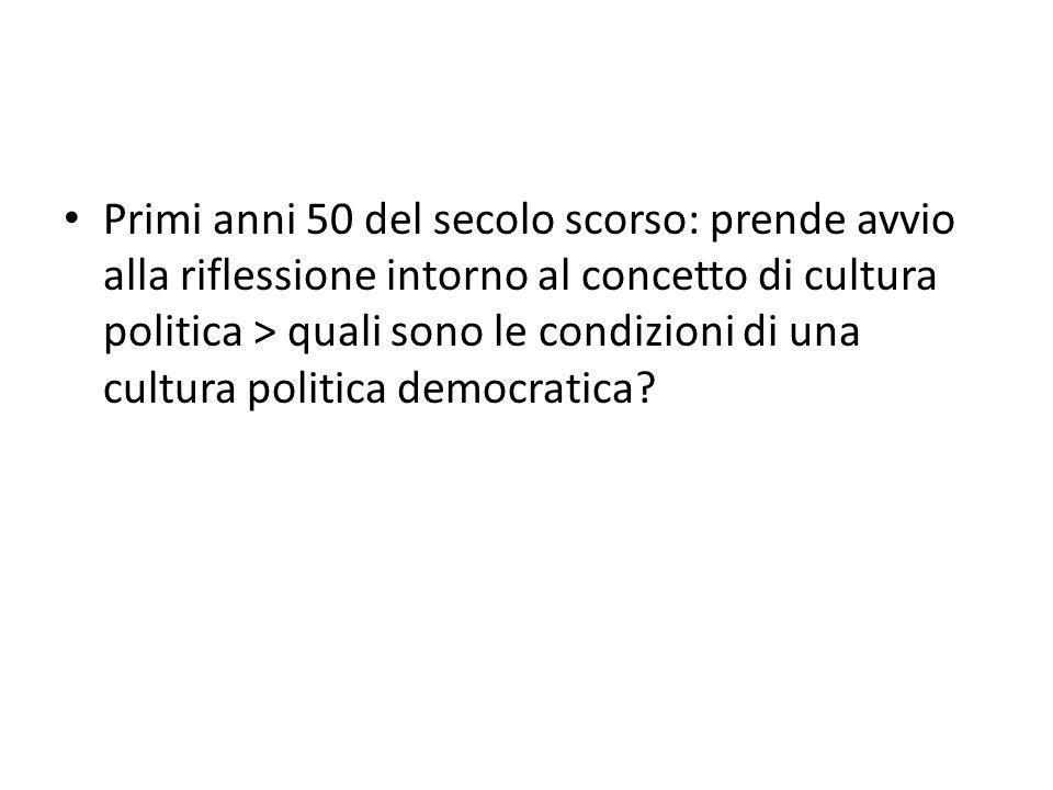 Primi anni 50 del secolo scorso: prende avvio alla riflessione intorno al concetto di cultura politica > quali sono le condizioni di una cultura politica democratica